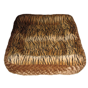 Cloud Nine Dog Beds - Round, Rectangle, Square - Tiger Chestnut Rose Cuddle
