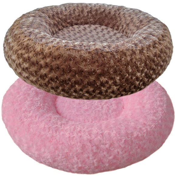 Cloud Nine Dog Beds - Round, Rectangle, Square - Espresso Baby Pink Rose