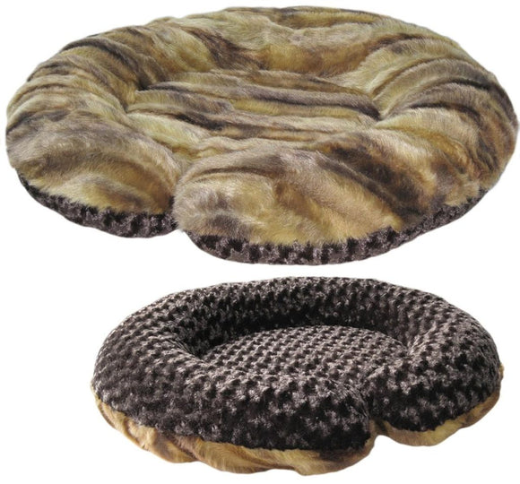 C-Shape Reversible Luxury Dog Bed - Tornado Antique Chocolate Rose