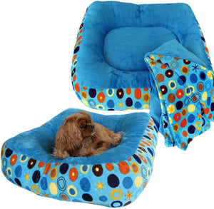 Cloud Nine Dog Beds - Round, Rectangle, Square - Turquoise Plush Bubbles