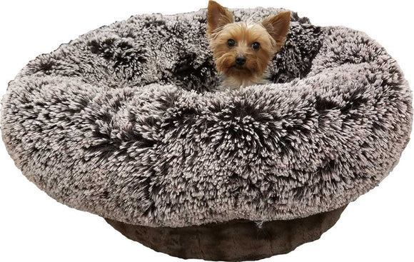 Lush & Plush Reversible Burrow Dog Bed - Midnight Frost & Godiva Brown by Bessie + Barnie