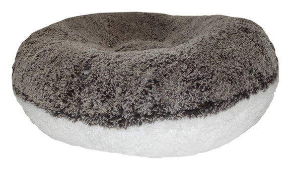 Bagel Dog Bed - Big, Plush & Comfy - Midnight Frost & Snow White by Bessie + Barnie
