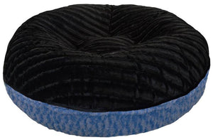 Bagel Dog Bed - Big, Plush & Comfy - Black Puma & Blue Sky by Bessie + Barnie