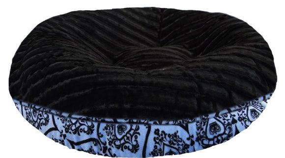 Bagel Dog Bed - Big, Plush & Comfy - Black Puma & Versailles Blue by Bessie + Barnie