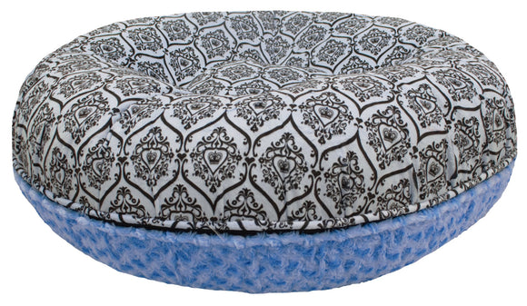 Bagel Dog Bed - Big, Plush & Comfy - Blue Sky & Versailles Blue by Bessie + Barnie