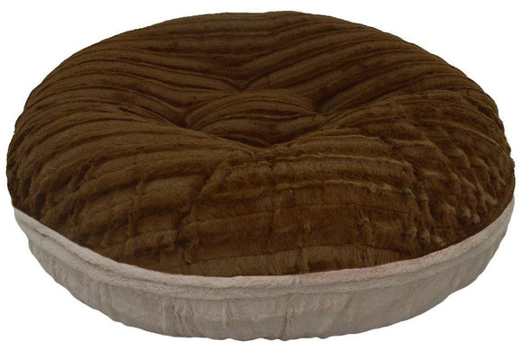 Bagel Dog Bed - Big, Plush & Comfy - Godiva Brown & Natural Beauty by Bessie + Barnie