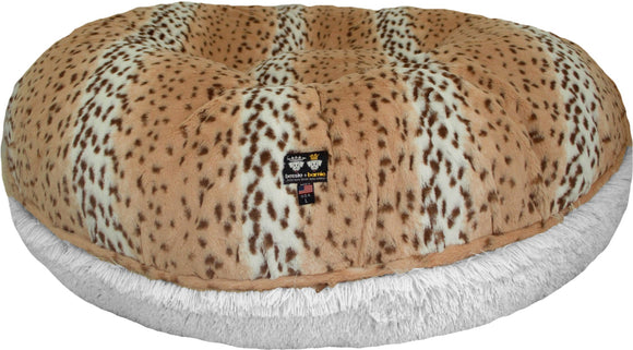 Bagel Dog Bed - Big, Plush & Comfy - Aspen Snow Leopard & Snow White by Bessie + Barnie