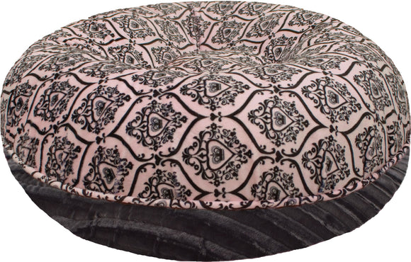 Bagel Dog Bed - Big, Plush & Comfy - Versailles Pink & Black Puma by Bessie + Barnie
