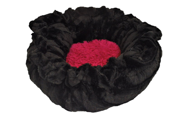 Lily Pod Dog Bed - Convertible & Reversible - Black Puma & Lipstick by Bessie + Barnie