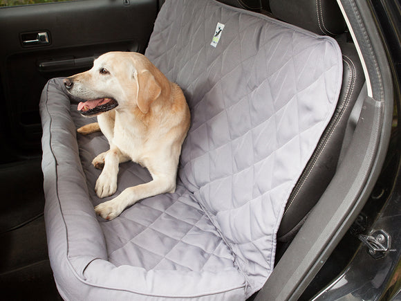 Back Seat Protector with Headrest for Dogs in Gray
