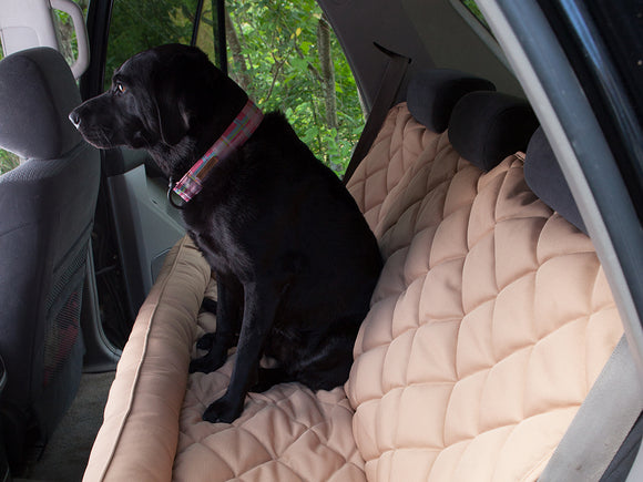 Back Seat Protector with Headrest for Dogs in Tan