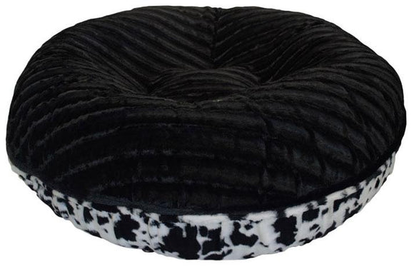 Bagel Dog Bed - Big, Plush & Comfy - Black Puma & Spotted Pony by Bessie + Barnie