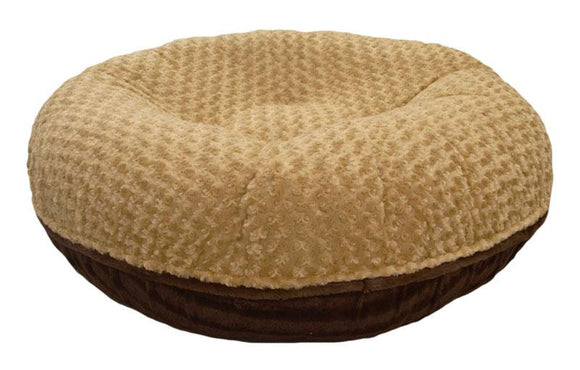 Bagel Dog Bed - Big, Plush & Comfy - Camel Rose & Godiva Brown by Bessie + Barnie