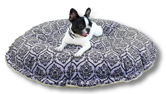 Convertible Reversible Bagelette Dog Bed - Versaille Blue by Bessie + Barnie