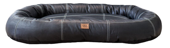 Genuine Black Leather Hypoallergenic Medium Bolster Dog Bed