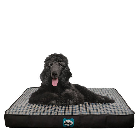 Cozy Comfy Designer Blue Check Orthopedic Memory Foam Dog Bed