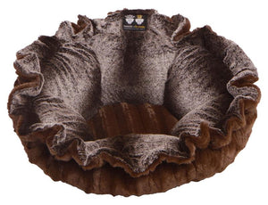 Convertible Cuddle Pod Reversible Dog Bed - Frosted Glacier & Godiva Brown by Bessie + Barnie