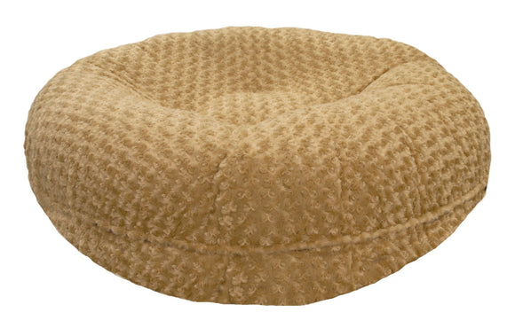 Bagel Dog Bed - Big, Plush & Comfy - Camel Rose by Bessie + Barnie