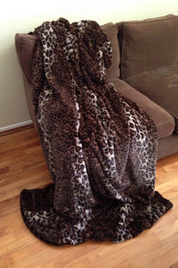 Human Sized Leopard Faux Fur Throws