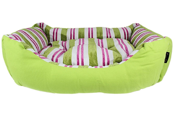 Canvas Striped Nester Dog Bed - Green