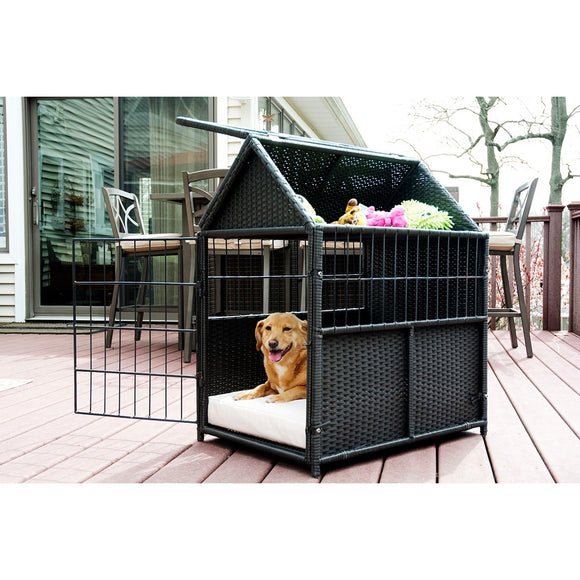 Rattan Dog Bed Crate with Storage by Iconic Pet