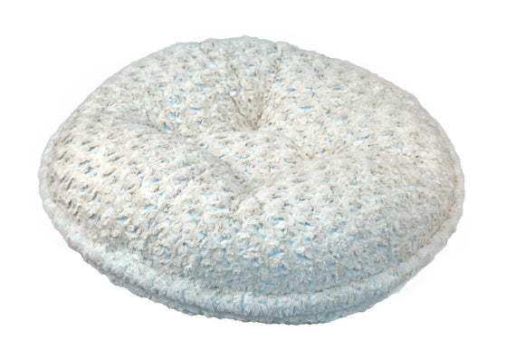 Beige Rosebud/Baby Blue Bagel Bed by Baylee Nasco