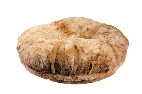 Beige Rabbit Bagel Bed by Baylee Nasco