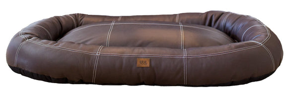 Genuine Walnut Brown Leather Hypoallergenic Medium Bolster Dog Bed