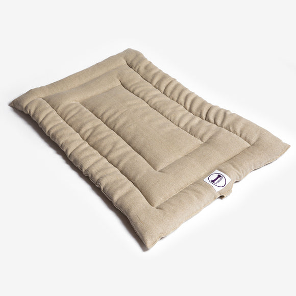 Beige Linen Dog Bed Roll Mat by Purplebone