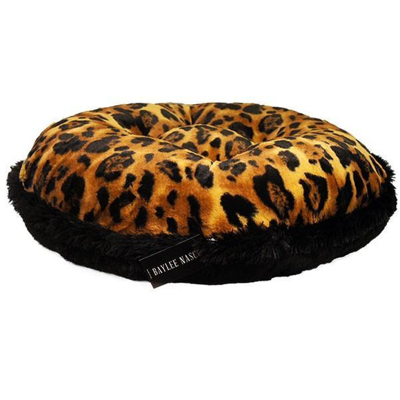 Big Leopard Print Black Mink Bagel Bed by Baylee Nasco