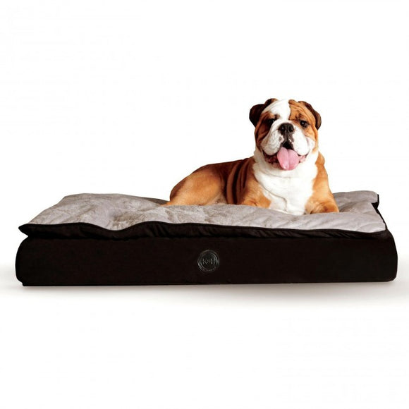 Feather-Top Pillow-Top Microsuede Fleece Orthopedic Dog Bed