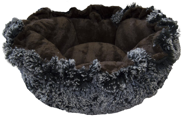 Convertible Cuddle Pod Reversible Dog Bed - Midnight Blue & Godiva Brown by Bessie + Barnie