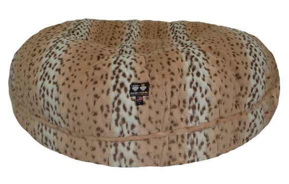 Bagel Dog Bed - Big, Plush & Comfy - Aspen Snow Leopard by Bessie + Barnie