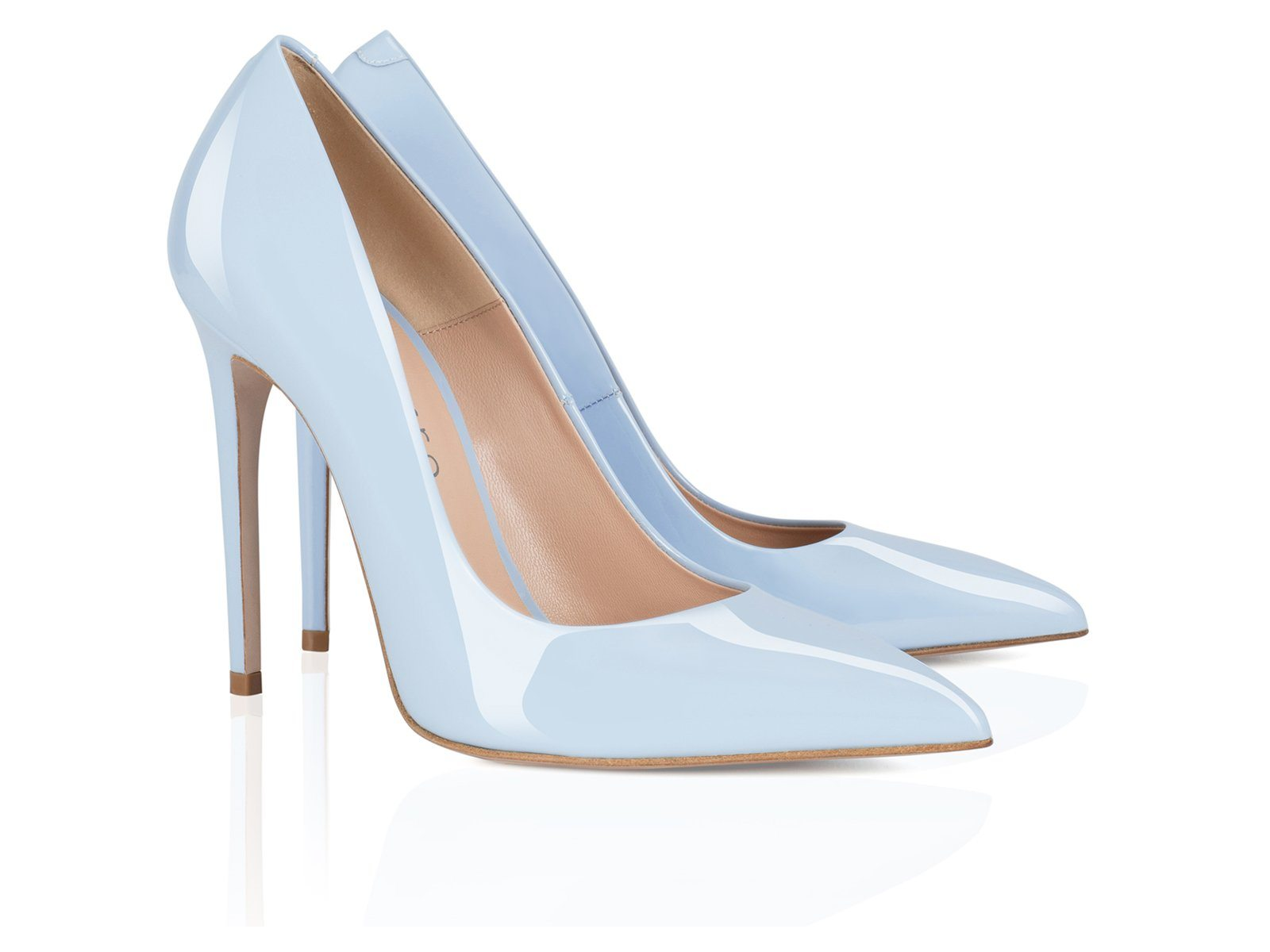 women pumps in blue patent leather 100