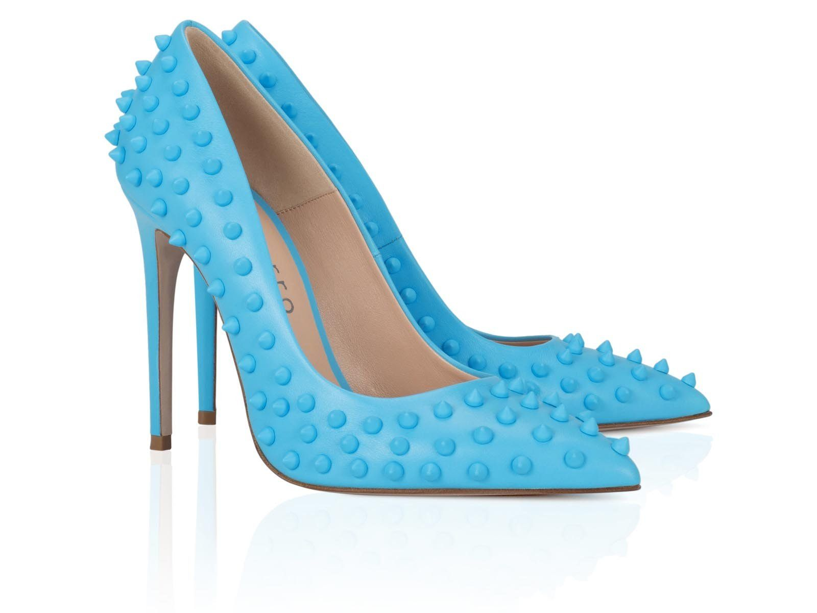Blue Studded Calfskin 100mm