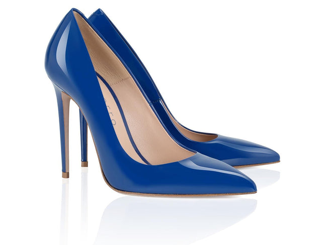 Blue Patent Leather 100mm - Montorro Luxury Handmade Italian Shoes