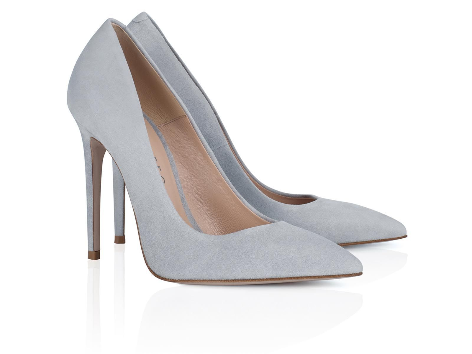 grey suede leather pumps 100mm hight of heel - Montorro Luxury Handmade Italian Shoes