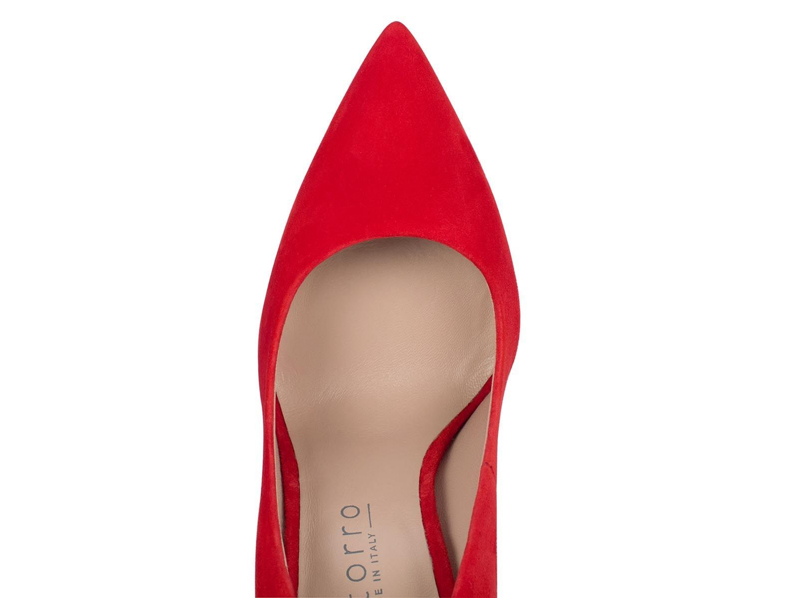 Red Suede Leather 100mm - Montorro Luxury Handmade Italian Shoes