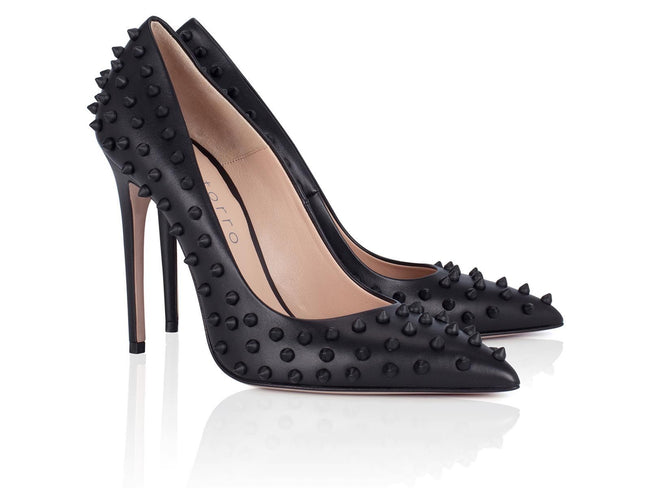 Black Studded Calfskin 100mm - Montorro Luxury Handmade Italian Shoes
