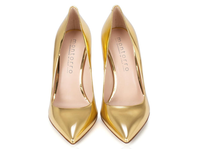 Golden Patent Leather 100mm - Montorro Luxury Handmade Italian Shoes