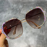 Women  Luxury Rhinestone Square Oversized Sunglasses
