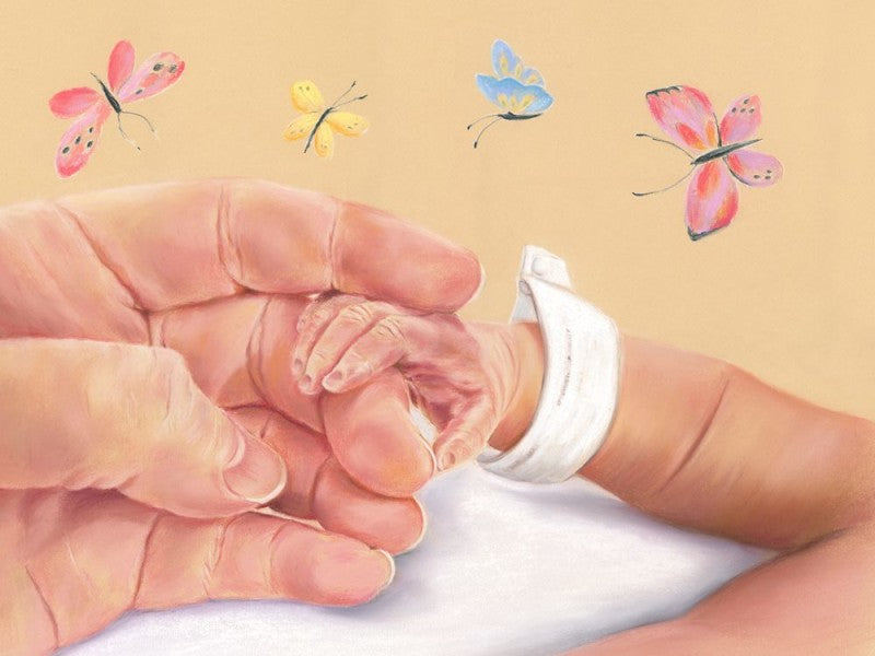 Precious Moments - Fine art giclee print - Baby, Birth, Butterflies, Child, Children, Family, Love, Newborn, People