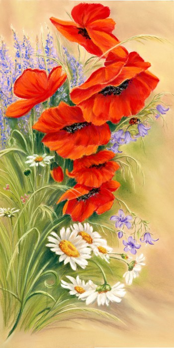 Wild Bunch - Fine art giclee print - daisies, Flora, floral, Flowers, Painting, poppies, poppy, red, Still Life