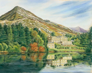 Ballynahinch Castle - Fine art giclee print - Castle, Connemara, Galway, Lake, Landscapes, Mountain, Water, Waterscapes