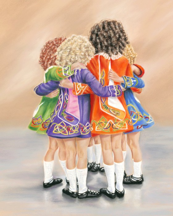 Na Rinceoiri (The Dancers) - Fine art giclee print - children, dance, dancers, dancing, friendship, girls, ireland, Irish, irish dancers, irish dancing, music, traditional