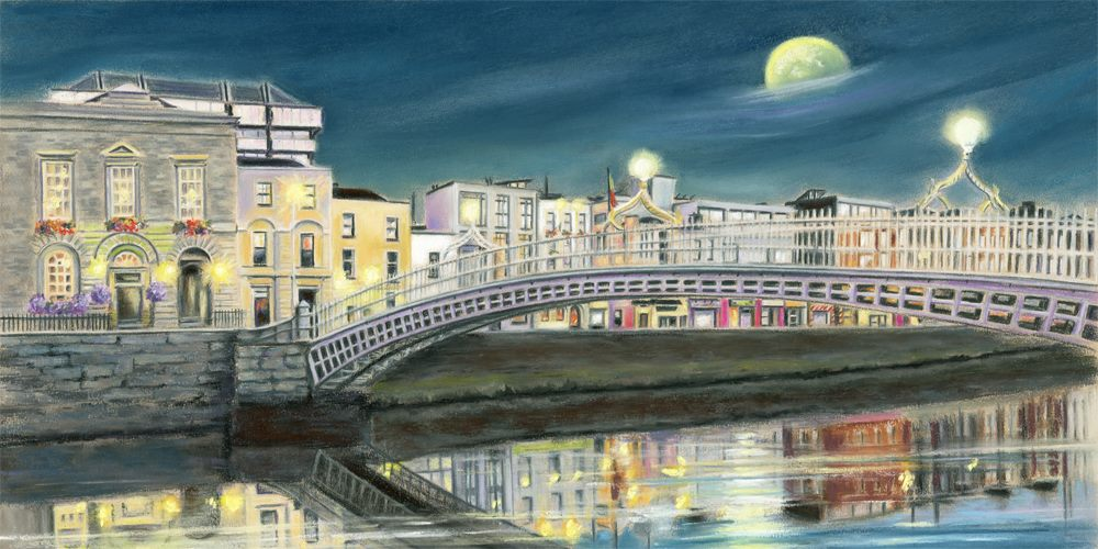 The Ha'penny Bridge, Dublin - Fine art giclee print - Bridge, Christmas, City, dublin, Famous, Ireland, Irish places, Landmark, Landscapes, Liffey, Marine, Painting, People, Pubs & Shops, River, Seasonal, Town, Townscapes, Water, Waterscapes