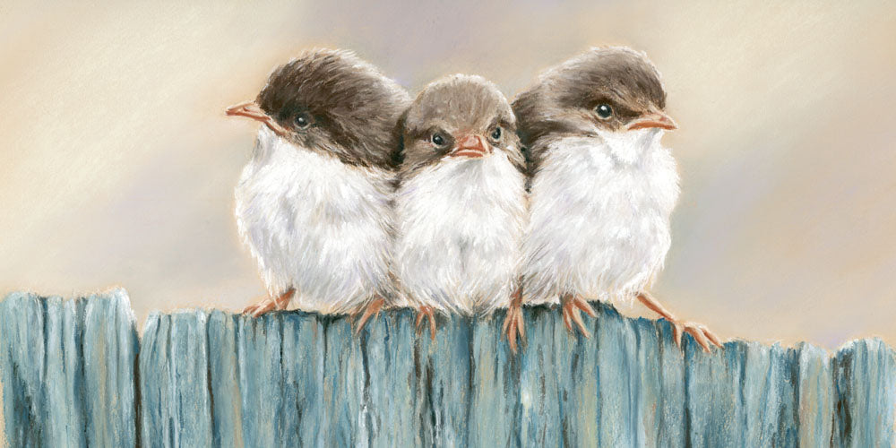 All a flutter - Fine art giclee print - animals, Bird, Birds, Family, Farm, Painting