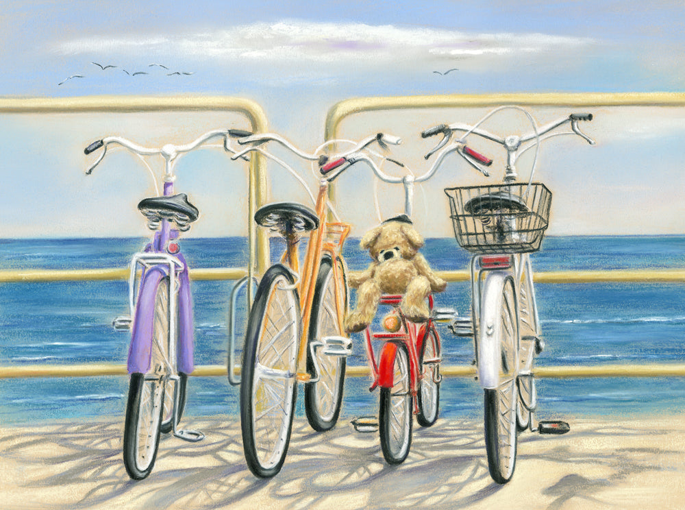 Beach Bums - Fine art giclee print - Beach, Bicycle, Bike, bikes, Coastal, cute, Daisies, Family, fun, holiday, ocean, River, sea, seaside, Still Life, teddy, teddy bear, warm, Water