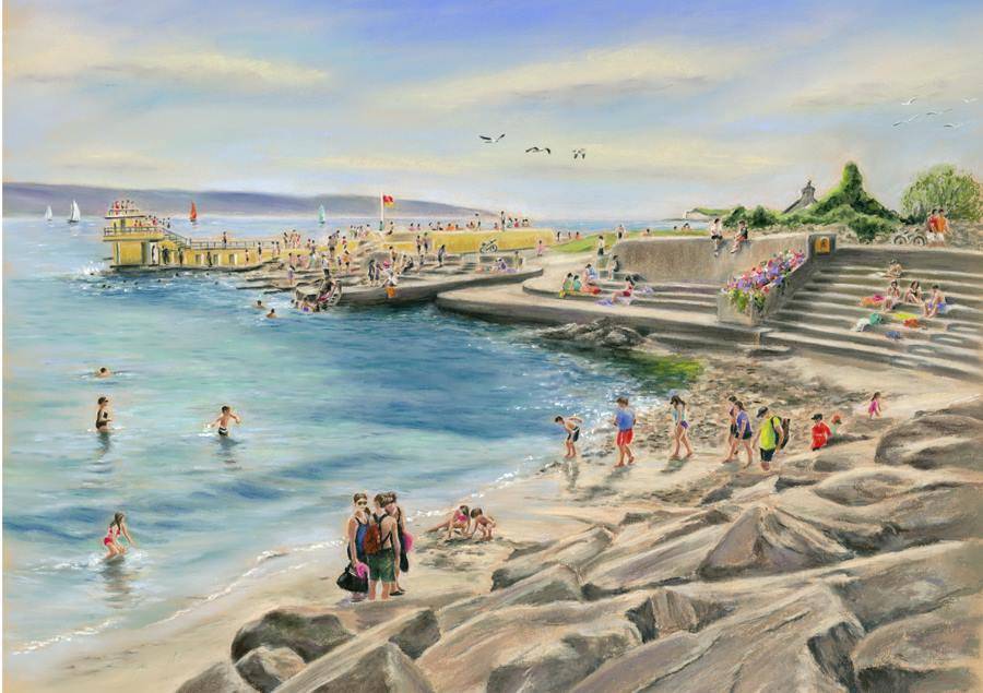 The Hot Days at Blackrock - Fine art giclee print - Blackrock, Galway, Galway Bay, Ireland, Landscape, Salthill, Seascape, Summer, Swimming, Warm, Water, Waterscape