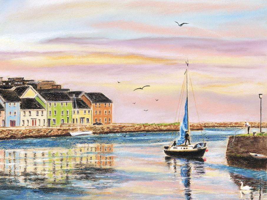 Claddagh, evening sky - Fine art giclee print - Boats, Claddagh, Corrib, Evening, Galway, Ireland, Sky, Spanish Arch, Water